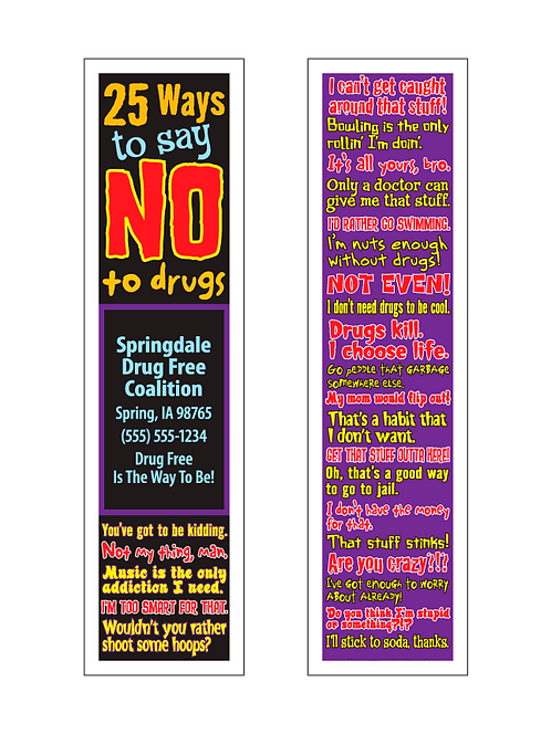 25 Ways To Say No To Drugs Bookmarks