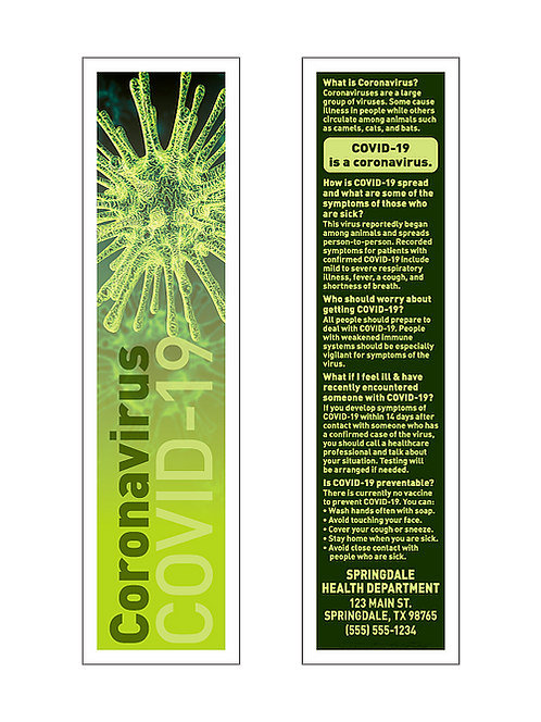 Coronavirus COVID-19 Bookmarks