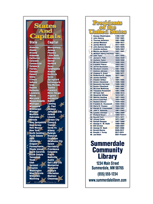 States and Capitals Bookmark
