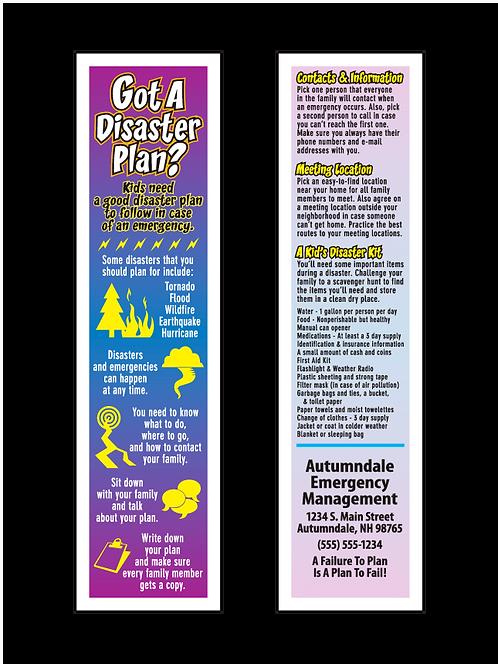 Kid's Disaster Plan Bookmarks