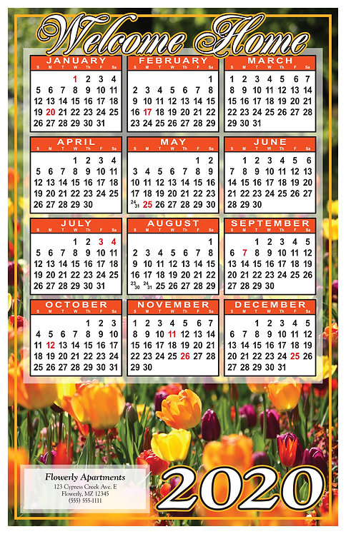 Welcome Home Spring Glowers Wall Calendar