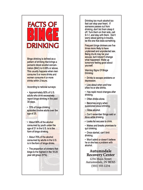 Binge Drinking Facts Bookmarks