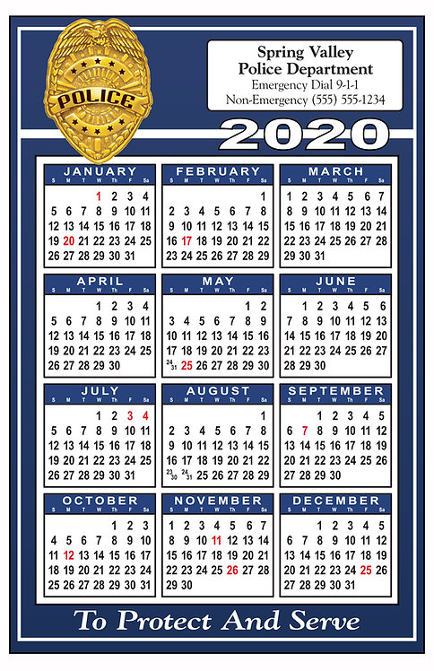 Police Wall Calendar