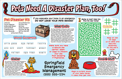 Pet Disaster Planning Activity Sheet/Poster