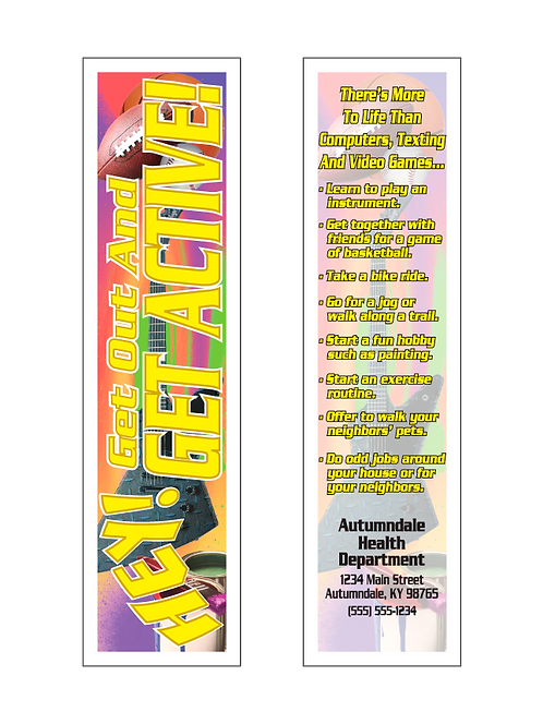 Get Out And Get Active (Exercise) Bookmark