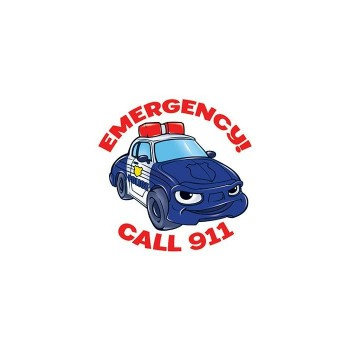 Emergency! Call 911(Cartoon Police Car) Temporary Tattoo