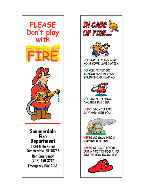 Fire Department Bookmark