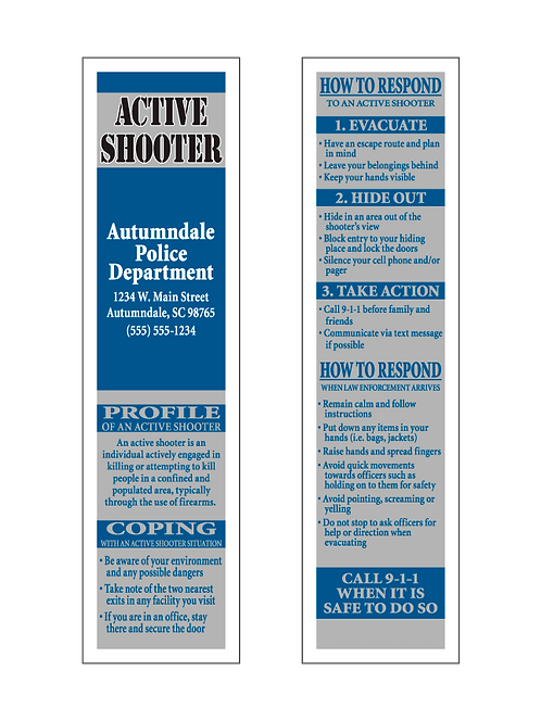 Active Shooter Bookmarks