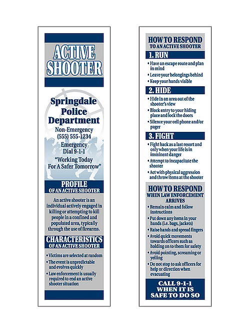 Run, Hide, Fight! (Active Shooter) Bookmarks