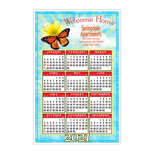 Butterfly Welcome Home Wall Calendar