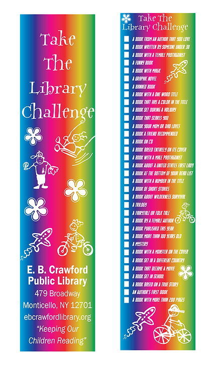 Kid's Library Challenge Bookmark