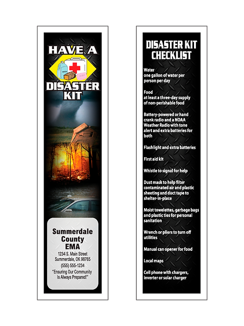 Disaster Kit Checklist Bookmarks