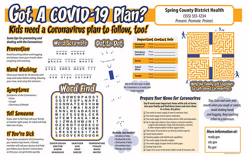 Kids Coronavirus Placemat Activity Sheet