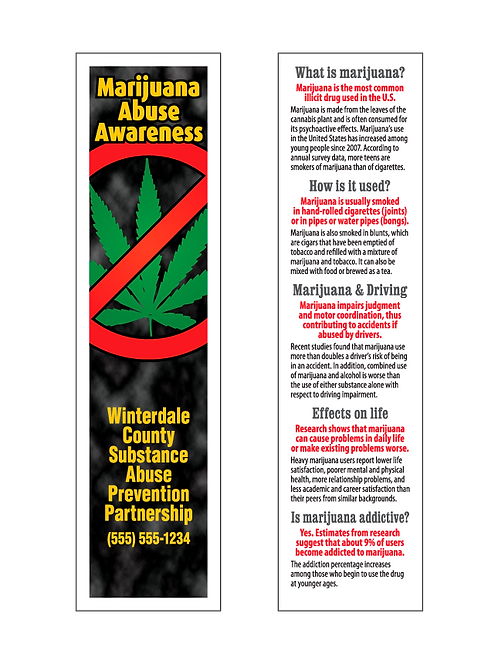 Marijuana Abuse Awareness Bookmarks