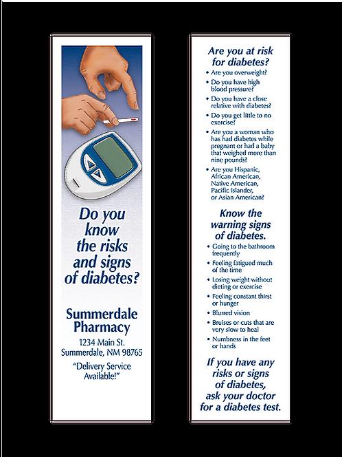 Diabetes Risks & Signs Bookmark