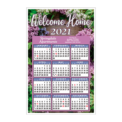 Welcome Home Floral Wall Calendar