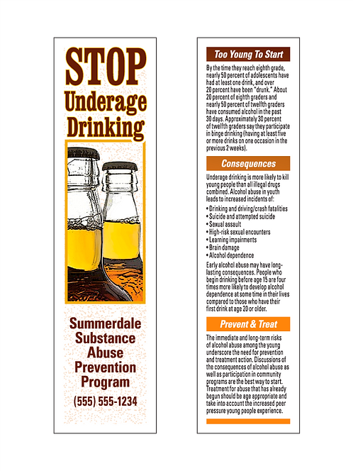 Stop Underage Drinking Bookmarks