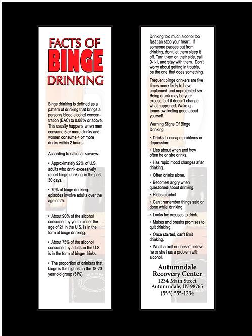 Binge Drinking Facts Bookmarks
