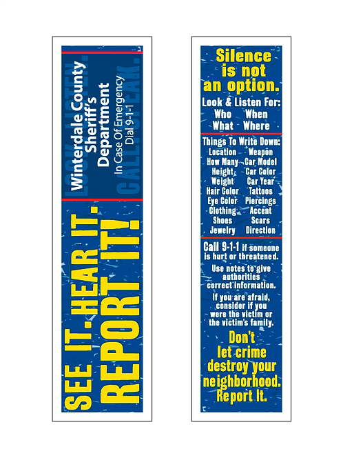 See It, Hear It, Report It! Bookmarks
