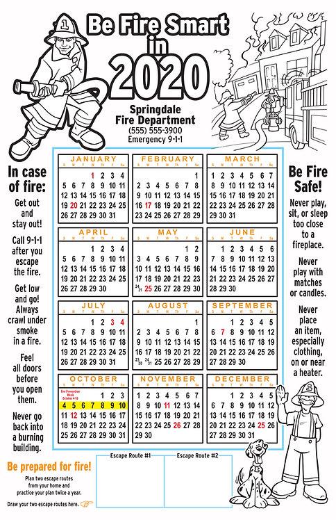 Fire Coloring Wall Calendar