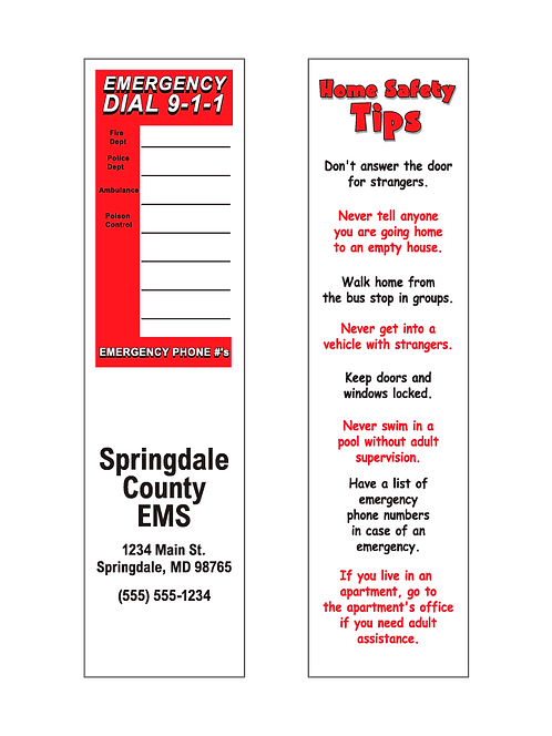 Kids Home Safety Tips Bookmarks