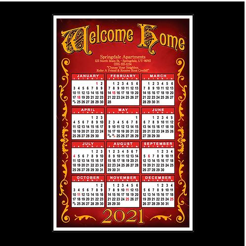 Signboard Retro Design Wall Calendar