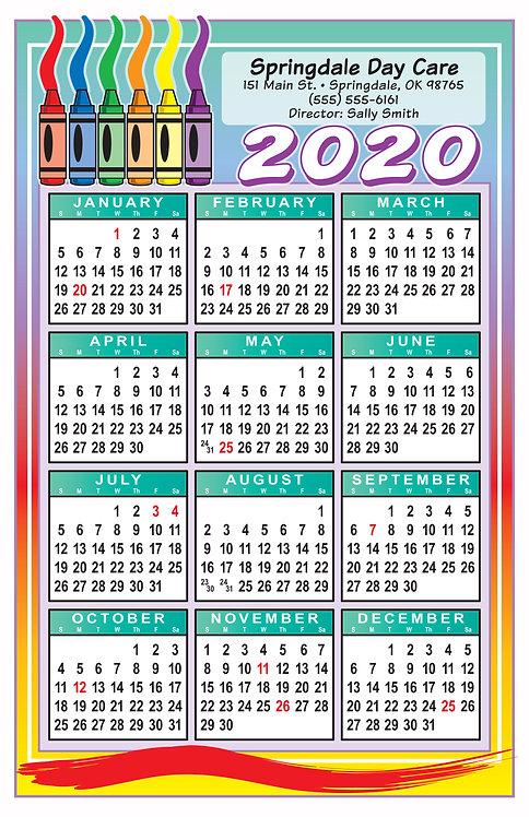 Daycare Crayons Wall Calendar