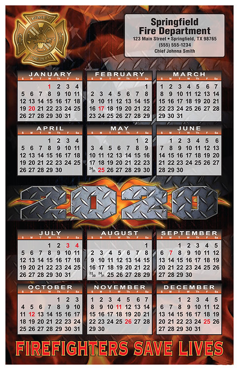 Diamond Plate Fire Department Wall Calendar