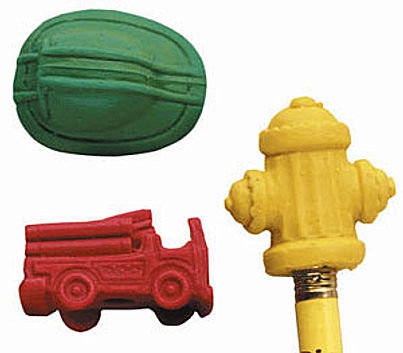 Fire Department Assorted Pencil Top Erasers