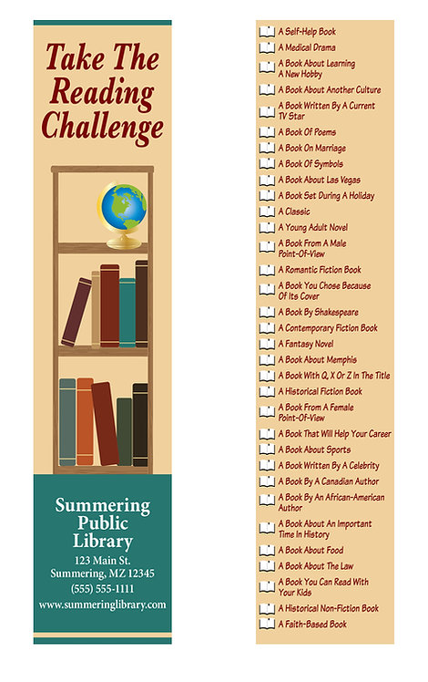 Library Challenge Bookshelf Bookmark