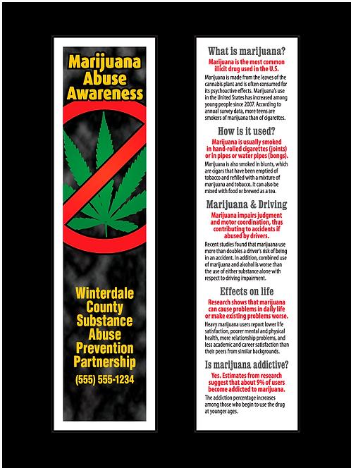 Marijuana Abuse Awareness Bookmarks