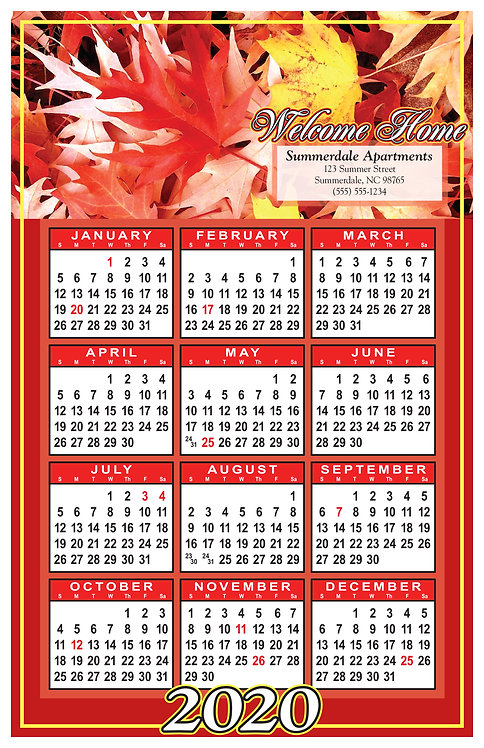 Welcome Home Leaves Wall Calendar