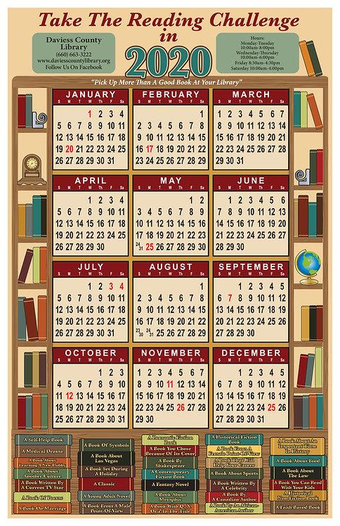 Library Challenge (Bookshelf) Wall Calendar