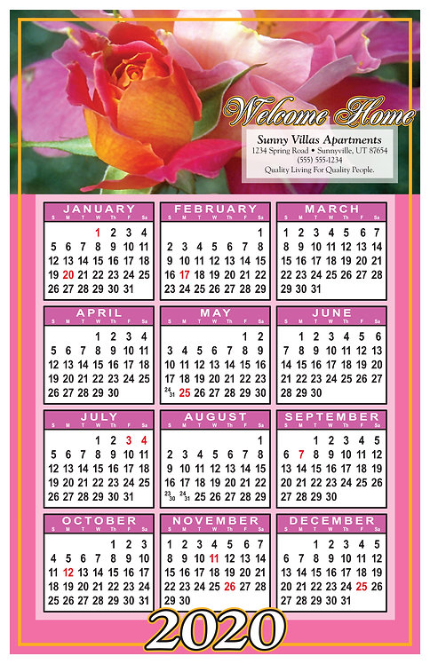 Welcome Home Flowers Wall Calendar