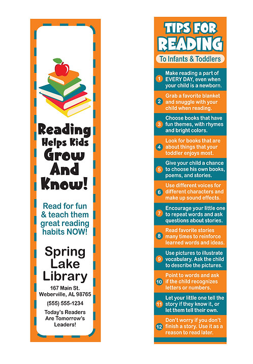 Tips For Reading To Infants & Toddlers Bookmark