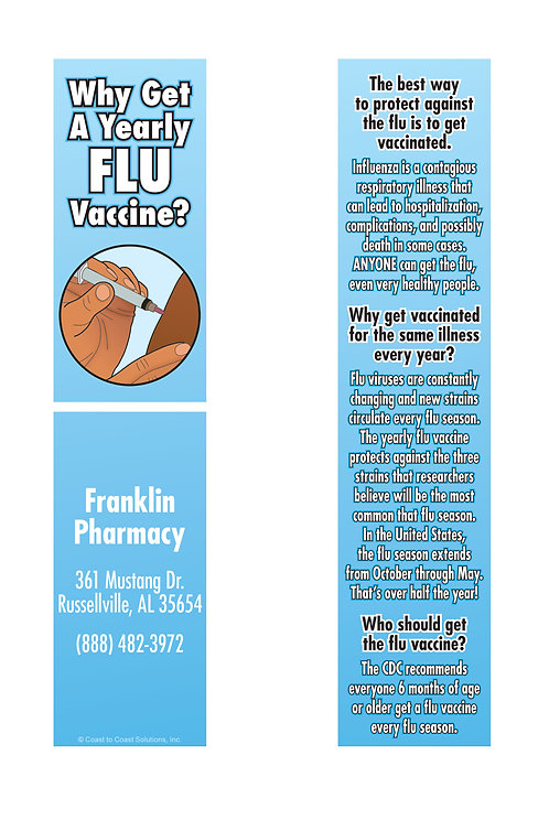 Flu Vaccine Bookmark