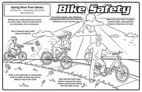 Bike Safety Coloring & Activity Poster