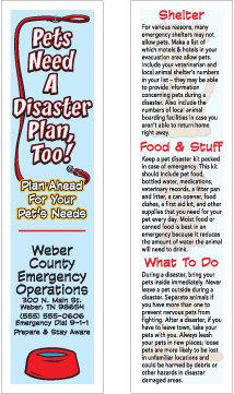 Pet Disaster Plan Bookmark