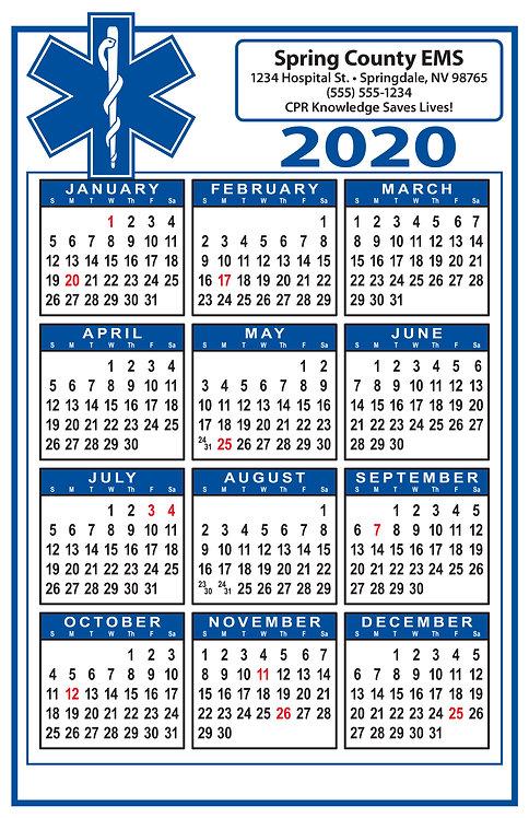 Star Of Life (EMS, EMT, Paramedic) Wall Calendar