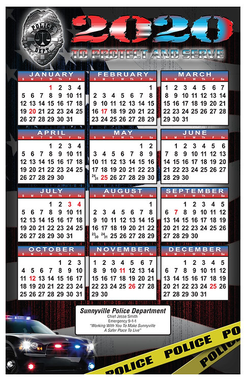 Light Bar Police Wall Calendar