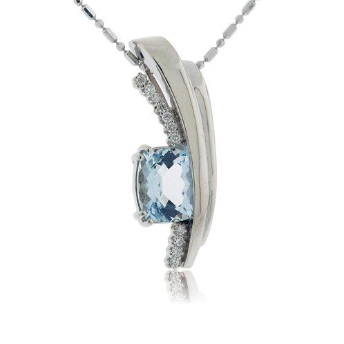 $200 Donation & Aquamarine Diamond Pendant, value $3600