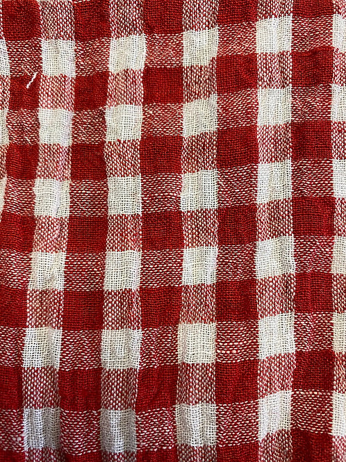 100% Linen Athena Red Check 18090