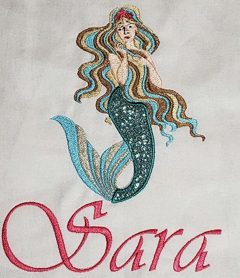 Personalized Embroidery Applique mermaid tote bag