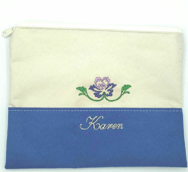 Personalized Embroidery make up/ pencil pouch.