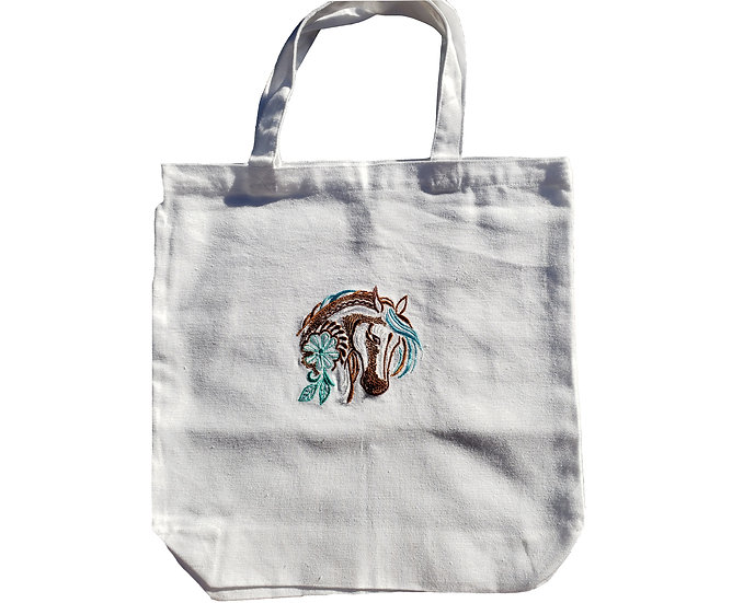 Horse Embroidery Canvas Tote Bag