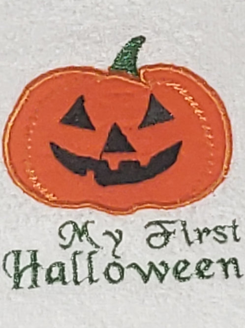 Personalized Embroidery Applique pumpkin bib