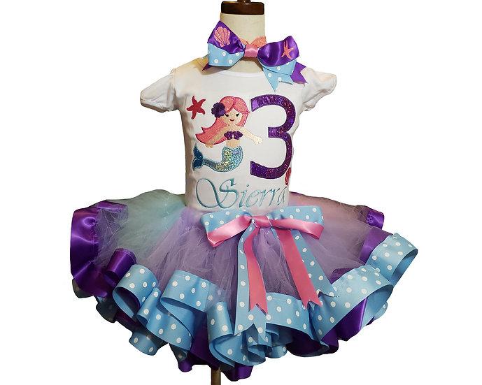 Personalized Embroidery Applique mermaid Tutu set