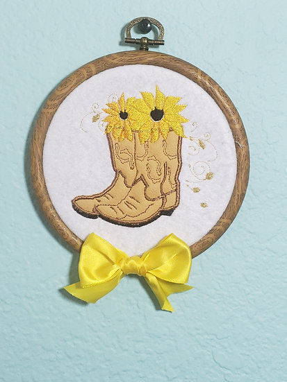 Boot and sunflower Applique wall art