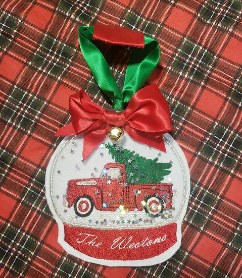 Personalized Embroidery Applique snowglobe ornament