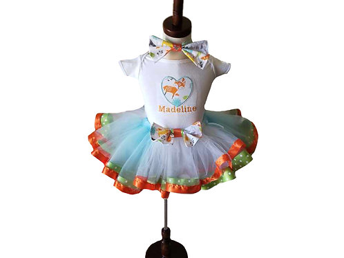 Personalized Embroidery Applique heart fox Tutu outfit